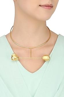 Gold Finish Geometric Neckpiece by Eurumme Jewellery