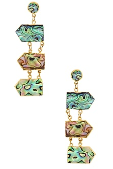 Gold Finish Multi Direction Abalone Earrings by Eurumme Jewellery