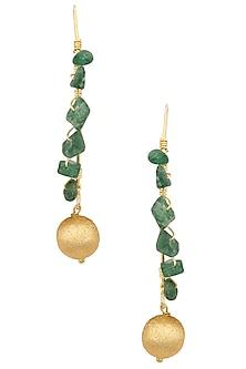 Gold Finish Green Onynx Stone Earrings by Eurumme Jewellery