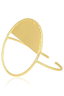 Gold Finish Circular Palm Cuff by Eurumme Jewellery