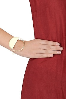 Gold Finish Circular Palm Cuff