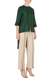 Emerald Green Centre Zip Shirt by EZRA
