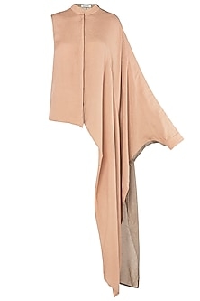 Blush Pink Asymmetrical One Sided Drape Shirt