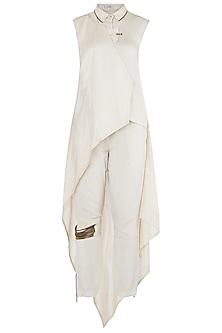 Ivory High Low Overlap Draped Shirt