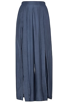 Blue Demin Box Pleated Pants
