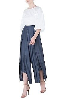 Blue Demin Box Pleated Pants by EZRA
