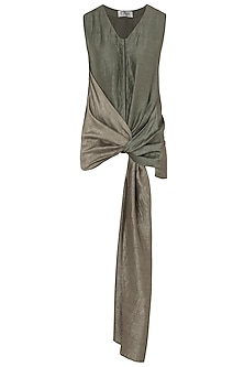 Green Draped Knot Shirt