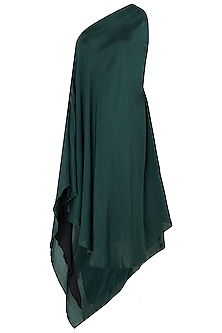 Emerald Green Asymmetrical One Shoulder Dress