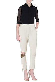 Ivory Sequins and Beaded Cuffed Pants by EZRA