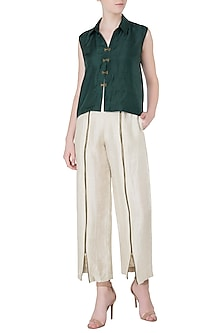 Ivory Wide Leg Pants by EZRA