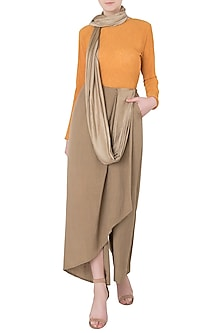 Bronze and Orange Asymmetrical Drape Knot Saree by EZRA