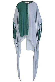 Grey and Green Oversized Kaftan Shirt by EZRA