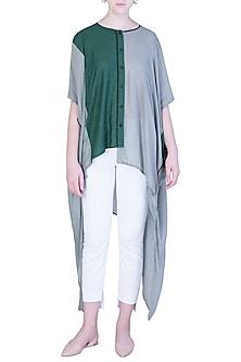 Grey and Green Oversized Kaftan Shirt by EZRA