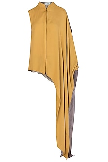 Yellow One Sided Drape Shirt