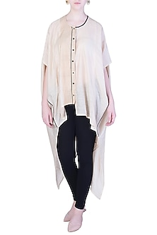 White Oversized Kaftan Shirt by EZRA