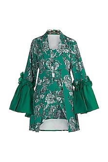 Teal Green Printed Robe With Tube Top & Skirt by Farah Sanjana