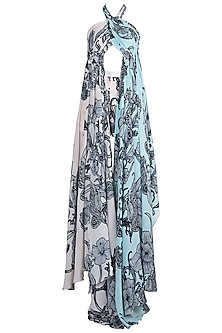 Pale Pink & Powder Blue Printed Crossbody Top With Shorts by Farah Sanjana