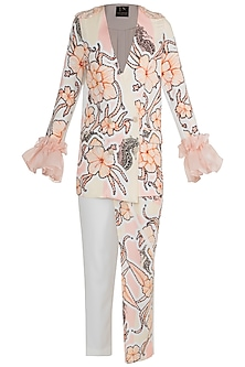White & Peach Printed Embroidered Blazer With Trouser Pants by Farah Sanjana