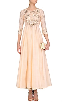 Peach Chanderi Anarkali and Crushed Lehenga Set by Faabiiana