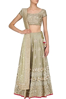 Pista Green Dabka Embroidered Lehenga Set by Faabiiana