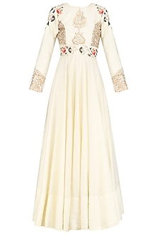 Ivory Zardozi Embroidered Kalidar Gown