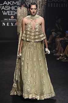 Pista Green Gold Embroidered Lehenga and Strappy Blouse Set by Faabiiana