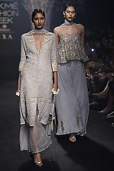 Grey Shirt Style Embroidered Kurta and Palazzo Set by Faabiiana