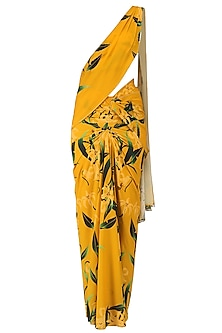 Mustard Lily Print Stitched Saree and Blouse Set