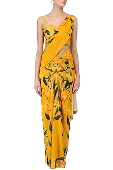 Mustard Lily Print Stitched Saree and Blouse Set by Farah Sanjana
