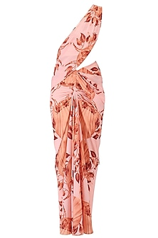 Pink Lily Print Stitched Saree with Off Shoulder Blouse by Farah Sanjana