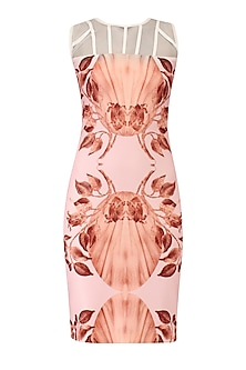 Pink Lily Print Fitted Dress