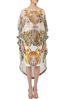 White Lily Print Skirt, Bustier and Cape Set by Farah Sanjana