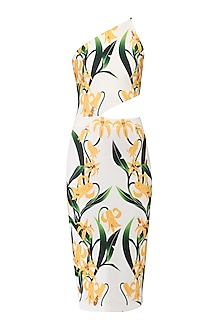 White Lily Print One Shoulder Dress