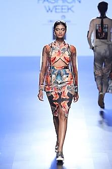Multi Coloured Fish Print Cross Body Dress And Bomber Jacket by Farah Sanjana