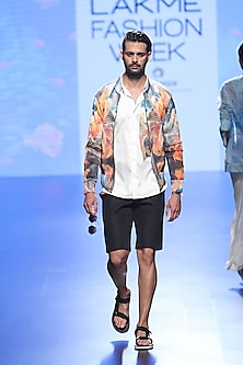 Multicoloured Fish Reflection Bomber Jacket, White Shirt And Black Shorts