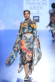 Multi Coloured Fish Tentancles Print Cape And Knee Length Skirt by Farah Sanjana