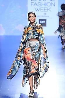 Multi Coloured Fish Tentancles Print Cape And Knee Length Skirt by Farah Sanjana