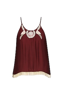 Maroon Ayaat Embroidered Top by Fancy Pants