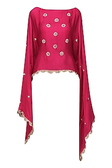 Hot Pink Nargis Embroidered Cape