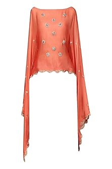 Orange Nargis Embroidered Cape