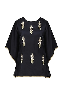 Navy Blue Meera Embellished Cape Sleeves Top