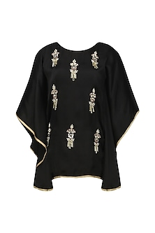 Black Meera Embellished Cape Sleeves Top