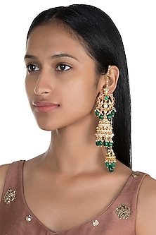 Gold Finish Double Jhumka Earrings by Firdaus By Akshita
