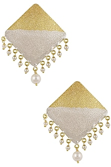 Gold and Silver Plated Pearl Hanging Square Earrings by Finura By Richa