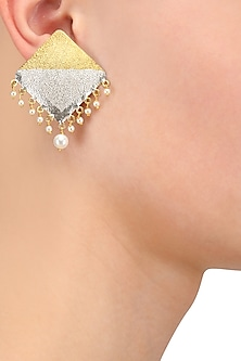 Gold and Silver Plated Pearl Hanging Square Earrings