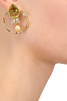 Gold Plated Yellow Drop Glass Earrings