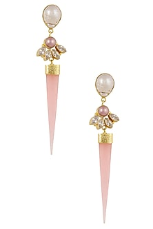 Gold Plated Pink Jade Stone and Pearl Earrings by Finura By Richa