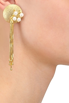 Gold Plated Pearl Circle Design Earrings by Finura By Richa