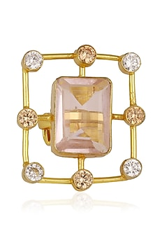 Gold Plated Pink Glass Stone and Zircons Ring by Finura By Richa