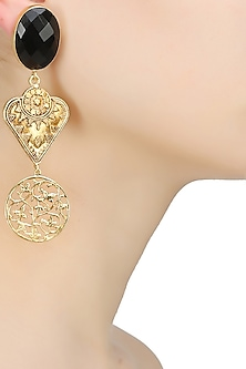 Gold finish black onyx stone filigree drop earrings by Finura By Richa
